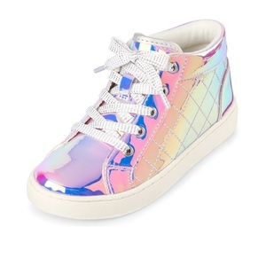 🦄Holographic Quilted Hi Top Sneakers